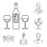 Restaurant and bar outline icons in set collection for design. Pleasure, food and alcohol vector symbol stock web. Restaurant and bar outline icons in set Stock Images