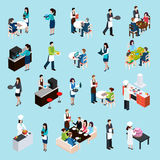 Restaurant Bar People Isometric Icons Set. Restaurant cafe bar personnel and customers isometric icons set with waiters attending tables abstract  vector Royalty Free Stock Photos