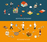 Restaurant Bar Service 2 Isometric Banners Royalty Free Stock Images