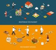 Restaurant Bar Service 2 Isometric Banners royalty free illustration