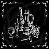 Restaurant or bar wine list on chalkboard Stock Photography