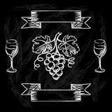 Restaurant or bar wine list on chalkboard. Background Royalty Free Stock Images