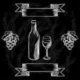 Restaurant or bar wine list on chalkboard. Background Royalty Free Stock Image