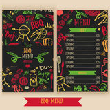 Restaurant bbq menu brochure. Vector cafe template with hand-drawn graphic. BBQ menu flyer. Stock Photo