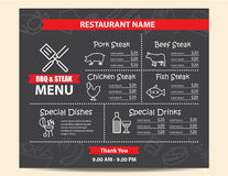 Restaurant BBQ steak menu design Royalty Free Stock Photos