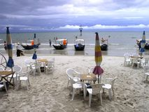 Restaurant on beach. Travel in China Stock Photos