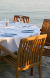 Restaurant on a beach. View of an empty table of a beach restaurant Royalty Free Stock Image