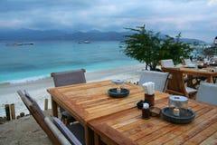 Restaurant on the beach. Local restaurant on the beach of Trawangan Island, Gili Island, Indonesia Royalty Free Stock Image