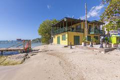 Restaurant and beach in Boqueron, Puerto Rico Stock Images