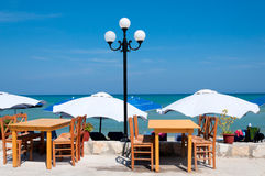 Restaurant on the beach Stock Images