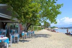Restaurant on the beach,Greece Royalty Free Stock Photography