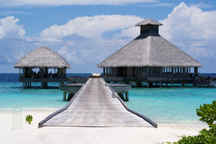 Restaurant on the beach. Nice Restaurant in Maldives in resort called Huvafen Fushi royalty free stock images