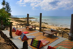The restaurant on the beach, Phra Ae beach, Ko Lanta, Thailand Stock Photos
