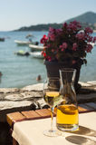Restaurant on the beach. Scenic view from the cafe on the sea coast, Montenegro Royalty Free Stock Images