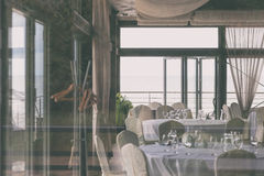 Restaurant on the beach by the sea Stock Image