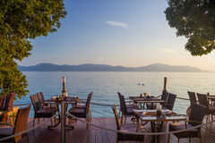 Restaurant on the beach. With a view of the Adriatic sea Royalty Free Stock Photos