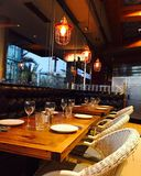 The restaurant. Beautiful and elegance interior design of restaurant Royalty Free Stock Images