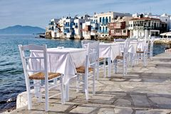 Restaurant. Beautiful view from the original restaurant on Mykonos island part named Venice, Greece Royalty Free Stock Image