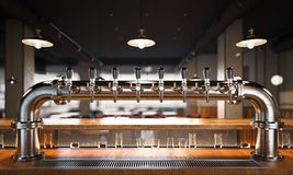 Restaurant with a beer taps. 3d rendering Royalty Free Stock Image