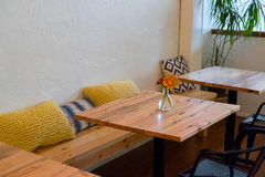 Restaurant Bench Seating with Tables Royalty Free Stock Photo