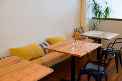 Restaurant Bench Seating with Tables Royalty Free Stock Images