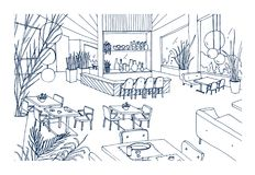 Restaurant or bistro interior with modern furnishings hand drawn with contours on white background. Freehand drawing of. Cafe or bar furnished in elegant loft Stock Images