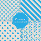 Restaurant or bistro theme. Blue stripes, dots, cutlery and other shapes. Seamless vector pattern background set.  Royalty Free Stock Image