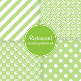 Restaurant or bistro theme. Lush green stripes, dots, cutlery and other shapes. Seamless vector pattern background set.  Royalty Free Stock Photos