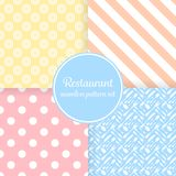 Restaurant or bistro theme.. Restaurant or bistro theme. Pastel color stripes, dots, cutlery and other shapes. Seamless vector pattern background set Royalty Free Stock Photo
