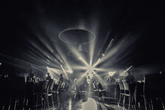 Restaurant black and white photo.ballroom    .wedding partypeople dance in  party Stock Photo