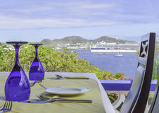 Restaurant bleu en verre Images stock