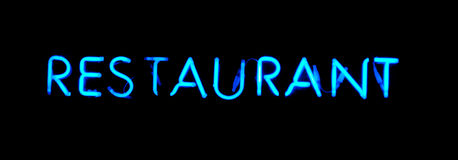 Restaurant blue  neon sign Stock Photography