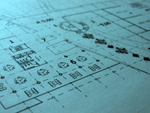 Restaurant blue prints royalty free stock photo