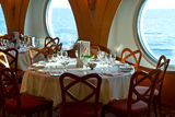 Restaurant on board a cruise ship Stock Photo