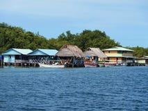 Restaurant in Bocas del Toro stock afbeelding