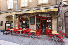 Restaurant bouchon in Lyon, France Stock Photography