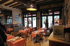 Restaurant bouchon in Lyon interior, France Stock Images