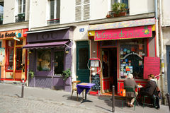 Restaurant and Boutiques in Montmartre, Paris Royalty Free Stock Photo