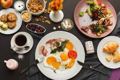 Restaurant breakfast with bacon and fried eggs stock photos