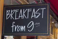 Restaurant breakfast sign Stock Photos
