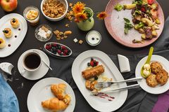 Restaurant breakfast with various sweet treats stock photos