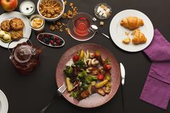 Restaurant breakfast with warm potato salad royalty free stock image