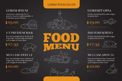 Restaurant brochure, menu vector design with hand drawn doodle food and drink Royalty Free Stock Photography