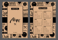Restaurant brochure. Vector illustration with menu design. Grunge cafe template with hand-drawn graphic. Food menu flyer on craft background Royalty Free Stock Images