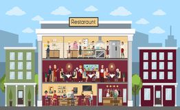 Restaurant building indoors. Restaurant building indoors with people sitting, kitchen and bar Royalty Free Stock Images