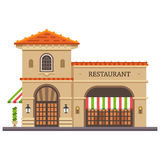 Restaurant building. Italian pizza and pasta. Food delivery Royalty Free Stock Image