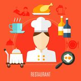 Restaurant Business In Hotel Decorative Icons Set. With waiter figurine truck with hot dish frying pan with scrambled eggs vector illustration Royalty Free Stock Image