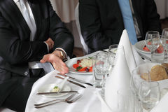 Restaurant businessman meeting Stock Image