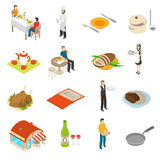 Restaurant Cafe Bar Isometric Icons Set Royalty Free Stock Photos