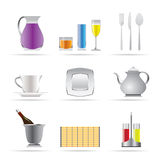 Restaurant, cafe, bar and night club icons Royalty Free Stock Image